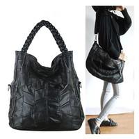 2014 Vintage Black 100% Genuine Leather Pure Sheepskin Women Handbag Bucket Bag Ultra Portable Diagonal Shoulder Bag