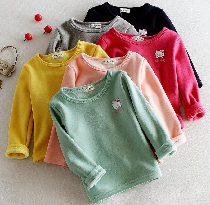 New 2014 Winter Fashion Lovely Warm Mixed Cotton Fur Wool Children Sweater Hello Kitty Girls Sweater(China (Mainland))