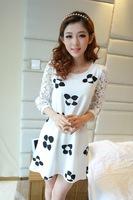 Free Shipping New 2014 Fashion Women Korean Autumn Elegant Temperament O-Neck Half Sleeve Floral Print Plus Size Dress 9350