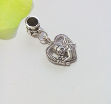 100ps Tibetan Silver Plated Vintage Heart Cupid Love Bead European Bracelet Charm Pendant for Jewelry Making
