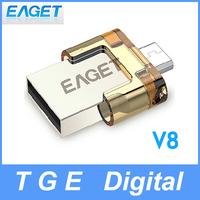 Eaget V8 8G/16G/32G USB 2.0 Flash Drive Smartphone OTG U Disk Dual Plug High Speed Waterproof Encryption UDP for Phone Tablet