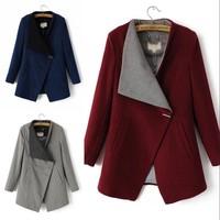 Winter Women Lapel Stand Collar Woolen Blend Coat Jacket