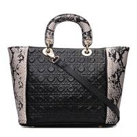 embossed  leather women handbag Genuine leather+PU bag woman shoulder tote bags snake match square pattern leather handbag 2015