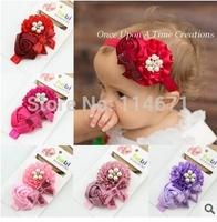 Free Shipping (15pcs/Lot) Euramerican Baby Headbands Children Ribbon Flowers Roses Sequins Headband Children Jewelry Headwear