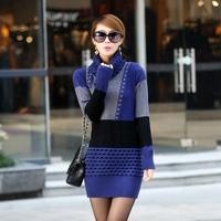 Free Shipping acrylic turtleneck big plaid fashionable women's long sheath sweater bottoming dress
