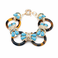 Fashion Jewelry Accessory Luxury Brand Leopard Pattern Exaggeration Resin Acrylic Link Charm Bracelet Bangle For Women PSB-S036