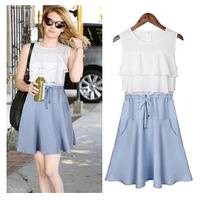 HR8490 Summer Dress 2014 Fashion Women Sleeveless O-neck Chiffon Casual Dress