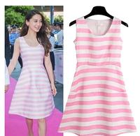 WZT5849 Hot Dress 2014 Celebrity Women Summer Sleeveless O-neck Tutu Dress Ladies Novelty Striped Dress