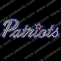 50Pcs/Lot Free Shipping Sports Rhinestone Bling Iron on Transfers For T Shirts Wholesale Hotfix Appliques