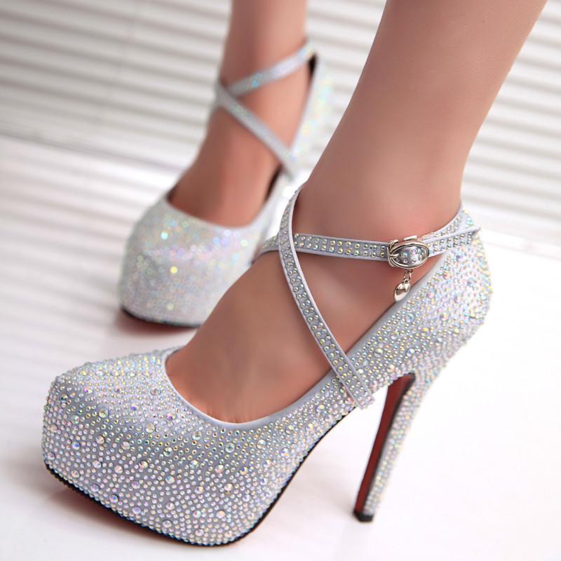 European Style Fashion New Pumps Shoes Silk Matte Surface Rhinestones