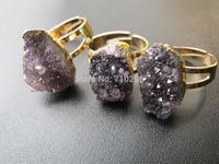 Very pretty Amethyst Quartz druzy jewelry ring gem stone jewelry finger ring 5pcs/lot