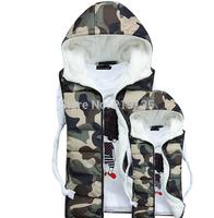 Wholesale European and American fashion new winter 2014 men's Korean Slim down cotton vest plus size Camouflage Vest jacket