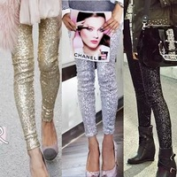 Free Shipping 2014 Summer New Women's Hip-hop Metallic Sequins Dazzle Colour Cultivate One's Morality Leggings S,M,L