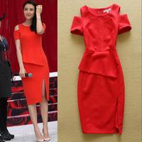 Fashion DRESS 2014 Sexy Strapless slim hip Placketing Sexy Red bride Dress