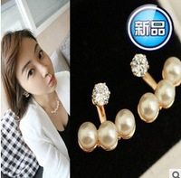 3 Pearls diamand Korean  New 2014 Fashion Women's Elegant   Fashion stud earrings for women jewelry classical B265