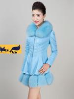 2014 New Women 100% Natural Rex fox Fur collars Coat Real leather Jacket Chinchilla sheepskin Outerwear Overcoat Stripe Design