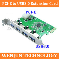 Free shipping PCIe  PCI-Express USB 3.0  expansion card,  USB 3.0 PCI - E adapter card, 4 ports support Mac