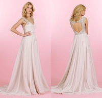 2014 Romantic Light Pink Exquisite Crystals Beading Cap Sleeves Sexy Open Back Crossover Draped Bodice Bride Wedding Dress