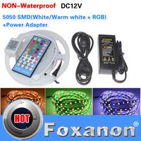 Foxanon Banrd 5050 RGBW LED Stri DC12V 60Led/M 300LED RGB Colorful Lamp  Flexible light 40key Controller + 5A 60W Power 5M/Roll