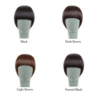 Hot! Womens Synthetic Hair Fake Side Bangs Neat Fringe Hairpiece Clip in on Hair Extensions Accessories Black Brown Color U-pick