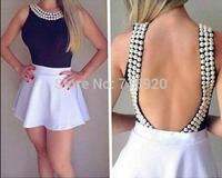 Blusas Femininas  Women Fashion Body Blouse Top Shirts  Beading O-neck Solid Sleeveless Sexy Backless Jumpsuit Body Blusa