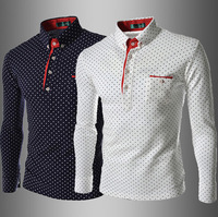 Free Shipping High Quality New Arrival Fashion Dots Printed Leisure Long Sleeve Man Cotton T-shirt