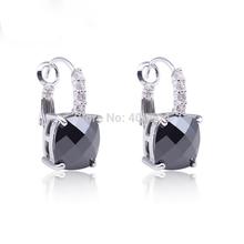 Fashion Women Earrings Wholesale Hot Jewelry Sexy Black Spinel 925 Dangle Hook Silver Earring Free Shipping(China (Mainland))