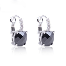 Fashion Women Earrings Wholesale Hot Jewelry Sexy Black Spinel 925 Dangle Hook Silver Earring Free Shipping