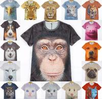 freeshipping brand t shirt men 2014summer autumn camisetas 3D Printing Animal Tiger monkey superman woman's t shirt men shirt