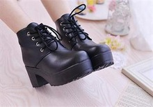 2015 Top quality Charismatic Punk Rock Lace Up Platform Ankle Boots Stylish Adorable Hick Teel Chunky Platform shoes(China (Mainland))
