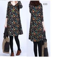 Free Shipping New 2014 Fashion Women Korean Autumn Elegant Temperament V-Neck Long Sleeve Floral Print  Dress 8068