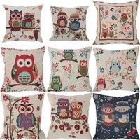 45x45cm Cute Linen Cotton Owl Pillowcase Four Season Sofa Seat Car Cushion Cover Throw Case Home Decor Owl Families Pillow Cover