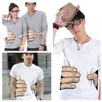 freeshipping brand t shirt men 2014 summer autumn camisetas 3D Printing creative big hand woman's t shirt men shirt M-4XL