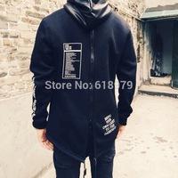 2014 new winter skateboard hip hop back zipper leather plus velvet mens cool sweatshirt and hoodies hba swag pyrex kanye west
