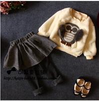 2014111 Winter &autumn children's clothing set,children winter jacket &outerwear+pants ,girls 2pcs set free shipping