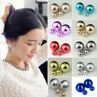 2014 Fashion Round Double Pearl Stud Earrings Multi Colors Gold Big Pearl Earrings Jewelry For Women Love Gift Hot Fashion