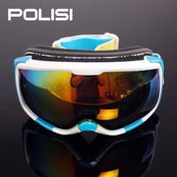 Hot 2014 POLISI Snow Ski Goggles Snowboard Glasses Eyewear Double Anti-Fog Lens Replaceable (night vision and daytime anti-UV)