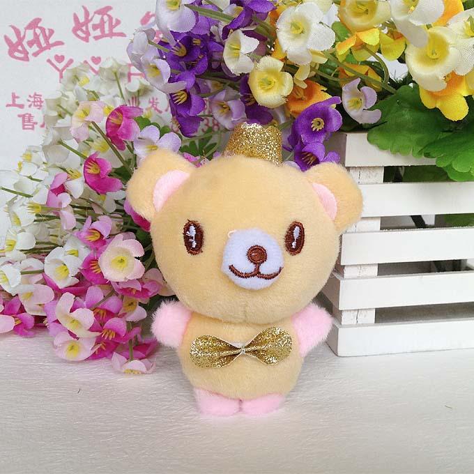Wholesale 12pcs/lot 11cm Bear Gift Plush Toys Doll Birthday Wedding Gift Phone Charm Big Order Big Discount(China (Mainland))