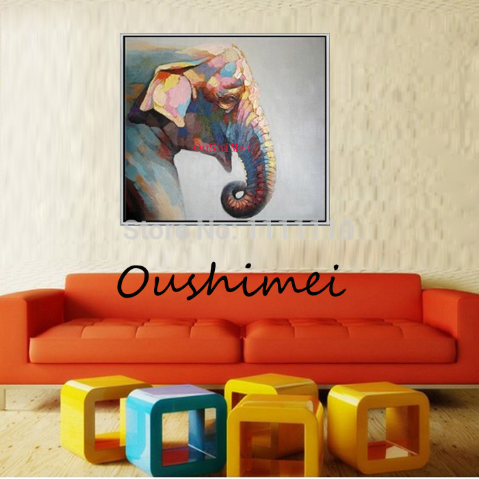Hand Painted Animals Oil Painting For Living Room Wall Pictures Abstract Elephant Paintings With Frame Canvas Pictures Decor(China (Mainland))