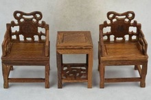 Chinese Old Collectibles Decorated Handwork Boxwood Carving Rare A Set Of Table & Chair chicken wood A1(China (Mainland))