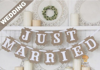 1Set/bag,11pcs/set JUST MARRIED Wedding Decoration Bunting Banner Flag Photo Booth Prop Party Supplies Favours DIY Handmade Prop