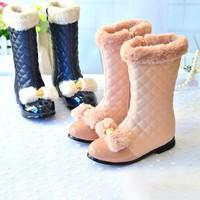 2014 female child shoes fashion sweet female child soft PU plus velvet boots bow medium-leg