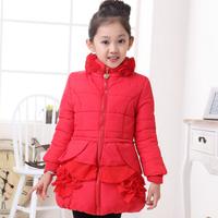 2014 Child outerwear  autumn and winter thickening plus velvet medium-large female child baby sweatshirt outerwear girls wadded
