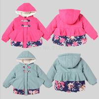 Children's Clothing 2014 Female Child Circleof Style Hooded Thickening Cotton-Padded Jacket Female Wadded Jacket Outerwear