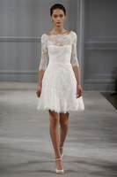 Elegant High Neck Short Wedding Dresses Sleeves Lace Bridal Gowns Vestidos de Noivas 2014 Custom Made