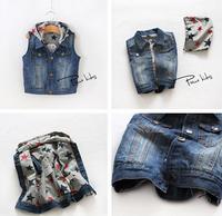 wholesale new 2014 Autumn Star boys and girls hooded denim vest Hooded denim vest 6pcs/1lot