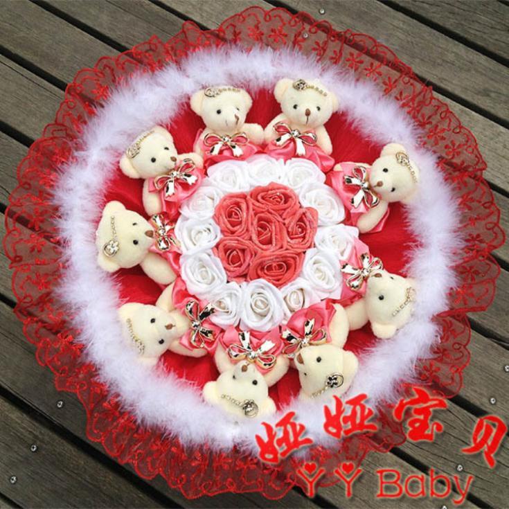 Pink Roses With Teddy Bear Roses Cartoon Teddy Bear