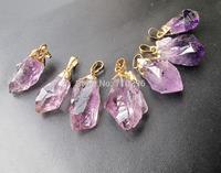 Wholesale High Quality Amethyst Quartz Rough Point pendant druzy jewelry necklace diy 5pcs/lot