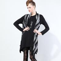 Women Stripe Print Irregular Women Sleeveless Jacket and Long Shirt 2 Pcs Sets