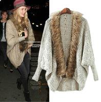 European style street fashion fur collar bat sleeve sweater cardigan sweater Women coat 110111